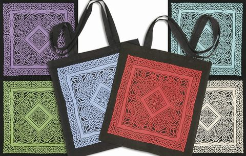 Celtic,Square,Design,Tote,tote, bag, Celtic, knotwork, cotton,  red, blue,green, turquoise, white, purple,  black,Celtic Tote, Celtic bag, Celtic Square design,  BrushCreekWoolWorks, Brush Creek Wool Works