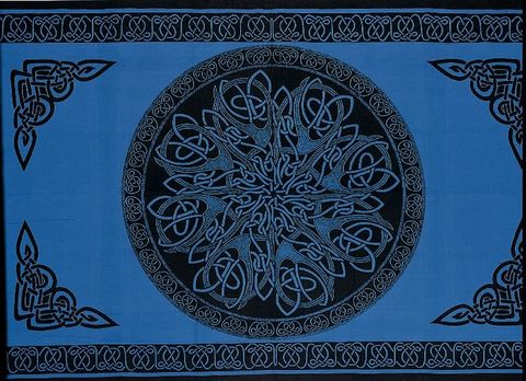 Celtic,Throw,,Blue,Mandala,Knotwork,throw, tapestry, Celtic throw, Celtic tapestry, Celtic knot work, blue throw, cotton throw, bedspread, twin bedspread, BrushCreekWoolWorks, Brush Creek Wool Works