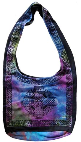 Celtic,Cross,Design,Sling,Bag,in,Multi,color,Purple,bag, tote, sling bag, Celtic bag, Celtic tote, sling tote, purple bag, book bag, BrushCreekWoolWorks, Brush Creek Wool Works