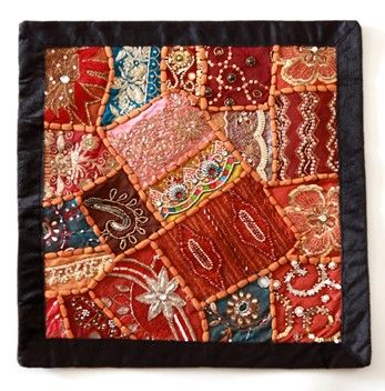 Vintage Fabric Pillow Cover with Beads and Sequins - product images