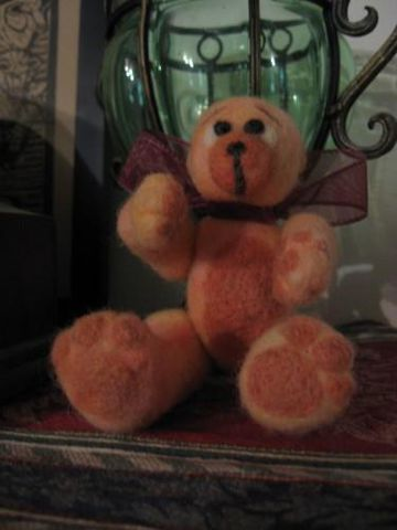 PeachTeddy,Bear,,Needle,Felted,,teddy bear, Teddy, Bear, needle felted, Felted, collectible, wool, BrushCreekWoolWorks, Brush Creek Wool Works