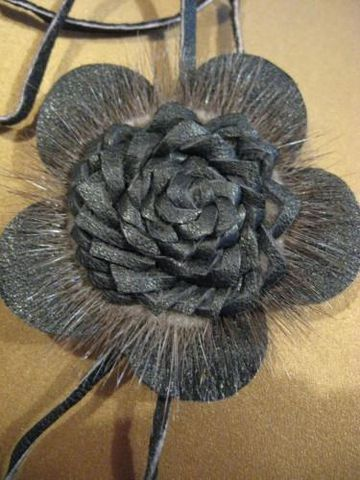 Black,Leather,Rosette,Pendant,leather,mink,pendant, leather, rosette, black, jewelry, necklace, leather pendant, leather necklace, BrushCreekWoolWorks,Brush Creek Wool Works