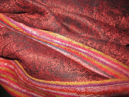 Pashmina Silk Scarf, Red Paisley Stripe - product images  of