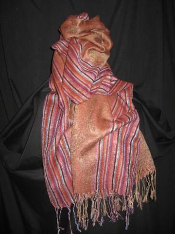 Pashmina,Silk,Scarf,Brown,Stripe,pashmina,silk, silk, scarf, shawl, brown, stripe, Brush Creek Wool Works, BrushCreekWoolWorks, Southwestern Pa