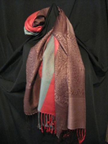 Pashmina,Scarf,Brown,Red,Turquoise,pashmina, scarf, shawl, brown, red, turquoise, Brush Creek Wool Works, BrushCreekWoolWorks, Southwestern Pa