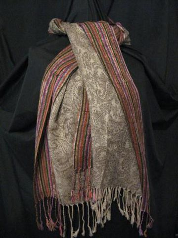 Pashmina,Silk,Scarf,Brown,Beige,Stripe,pashmina,silk, silk, scarf, shawl, beigw, brown, paisley, stripe, Brush Creek Wool Works, BrushCreekWoolWorks, Southwestern Pa
