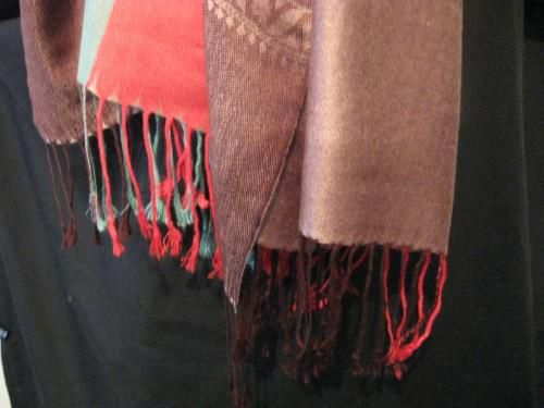 Pashmina Scarf Dark Brown Red Turquoise - product images  of