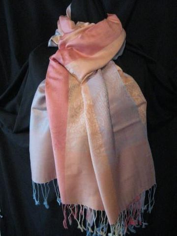 Pashmina,Scarf,Light,Rose,Blue,Cream,pashmina, scarf, shawl, rose, blue, cream, Brush Creek Wool Works, BrushCreekWoolWorks, Southwestern Pa