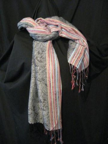 Pashmina,Scarf,Black,Paisley,Stripe,pashmina, scarf, shawl, black, paisley, stripe, Brush Creek Wool Works, BrushCreekWoolWorks, Southwestern Pa