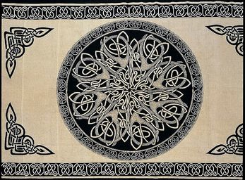 Celtic,Throw,,Beige,and,Black,Mandala,Knotwork,throw, tapestry, Celtic throw, Celtic tapestry, Celtic knot work, beige throw, cotton throw, bedspread, twin bedspread, BrushCreekWoolWorks, Brush Creek Wool Works