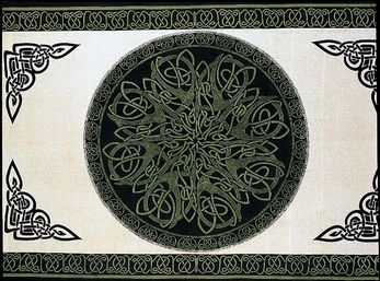 Celtic,Throw,,Mandala,Knotwork,,Beige,,Green,,Black,throw, tapestry, Celtic throw, Celtic tapestry, Celtic knot work, green throw, cotton throw, bedspread, twin bedspread, BrushCreekWoolWorks, Brush Creek Wool Works