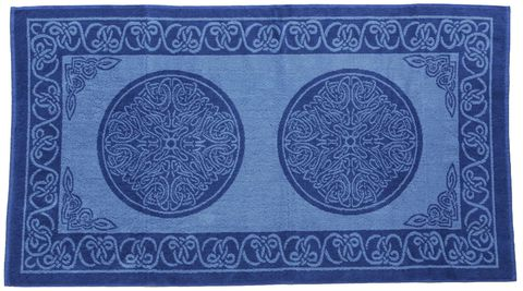 Bath,Towel,,Blue,Woad,Celtic,Knotwork,Design,towel, bath, celtic, blue, woad, knotwork, cotton, Brush Creek Wool Works, BrushCreekWoolWorks, Southwestern Pa