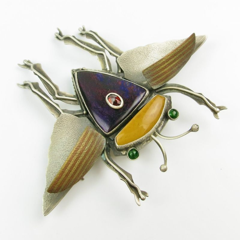 Flying Bug Pin - Garnet on Sugilite - product image