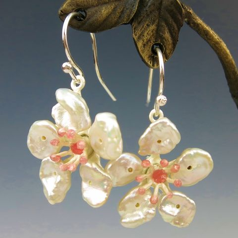 Cherry,Blossom,Drop,Earrings,Cherry Blossom Drop Earrings, Silver Season's Cherry Blossom Earrings, Michael Michaud, Silver Season's earrings, Cherry Blossom Collection