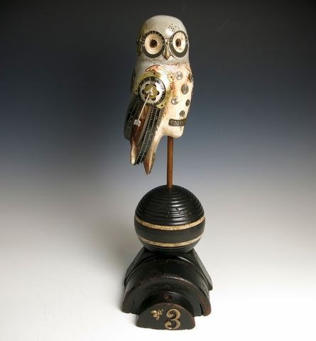 Mullanium,Bird,-,Grey,Owl,SOLD!,Mullanium Bird, Mullanium songbird, bird sculpture, mixed media birds, steampunk birds, handmade bird sculpture, grey owl, owl sculpture