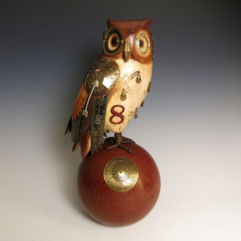 Mullanium,Bird,-,Brown,Owl,SOLD!,Mullanium Bird, Mullanium songbird, bird sculpture, mixed media birds, steampunk birds, handmade bird sculpture, brown owl, owl sculpture