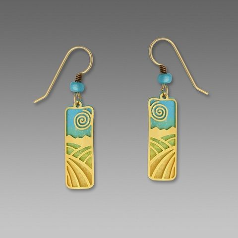 Adajio,Earrings,-,Sky,Blue,and,Gold,Column,with,Plated,Fields,Overlay,Adajio Earrings, Adajio earrings Sienna Sky, Etched Brass Earrings, Artisan Handmade