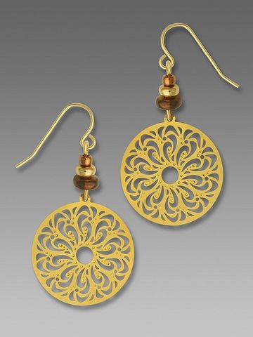 Adajio,Earrings,-,Gold,Plated,Filigree,Disc,with,Beads,Adajio Earrings, Adajio earrings Sienna Sky, Adajio Jewelry, Adajio Colorado