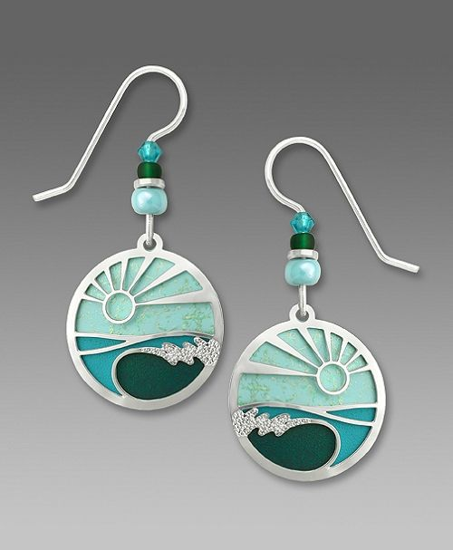Adajio Earrings - Aqua green disc with silver tone breaking wave pictorial overlay - product image
