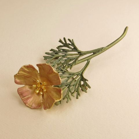California,Poppy,Pin,California Poppy Pin, Silver Seasons California Poppy Pin, Michael Michaud, Silver Seasons Jewelry, California Poppy Collection, Gold, Pearl, Pin, Brooch, Flower