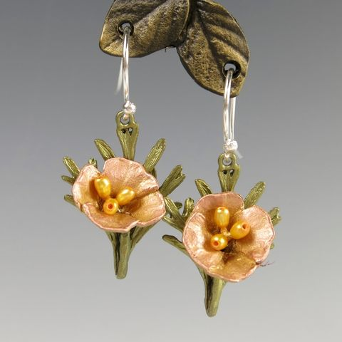 California,Poppy,Drop,Earrings,California Poppy Drop Earrings, Silver Seasons California Poppy Drop Earrings, Michael Michaud, Silver Seasons Jewelry, California Poppy Collection, Gold, Pearl, Earrings, Flower