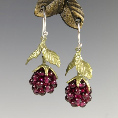 Raspberry,Drop,Earrings,Raspberry Drop Earrings, Silver Seasons Raspberry Drop Earrings, Michael Michaud, Silver Seasons Jewelry, Raspberry Collection