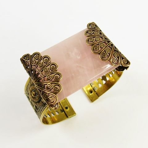 Jan,Michaels,Filigree,Fan,Cuff,-,Rose,Quartz,Jan Michaels Filigree Fan Cuff, Jan Michaels cuff, Jan Michaels bracelet, Jan Michaels