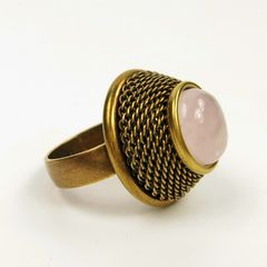 Jan Michaels Jeweled Basket Ring - Rose Quartz - product images 2 of 4