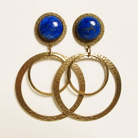 Jan,Michaels,Forged,Large,Hoops,Earrings,Jan Michaels, Jan Michaels Forged Large Hoops Earrings, Jan Michaels earrings, Jan Michaels lapis earrings, Jan Michaels Hoop Earrings