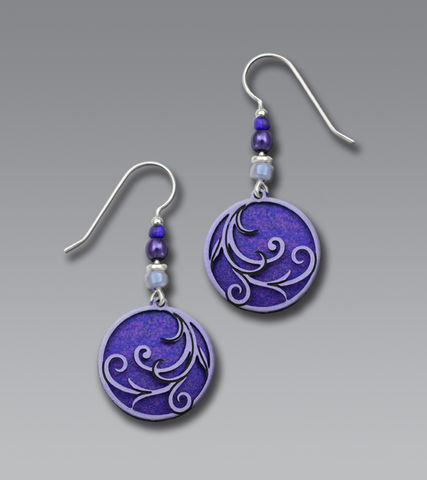 Adajio,Earrings,-,Purple,Disc,with,Lavender,Tendrils,Overlay,&,Beads,Adajio Earrings, Adajio earrings Sienna Sky, Adajio Jewelry, Adajio Colorado
