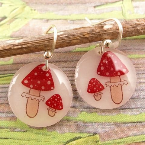 Beijo,Brasil,Small,Resin,Earrings,-,Toadstool,Beijo Brasil Toadstool Small Resin Earrings, Beijo Brasil, Beijo Brasil toadstool earrings, mushroom earrings