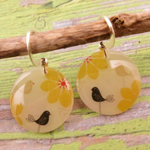 Beijo,Brasil,Small,Resin,Earrings,-,Yellow,Bird,Beijo Brasil Yellow Bird Small Resin Earrings, Beijo Brasil, Beijo Brasil Yellow Bird earrings, Yellow Bird earrings