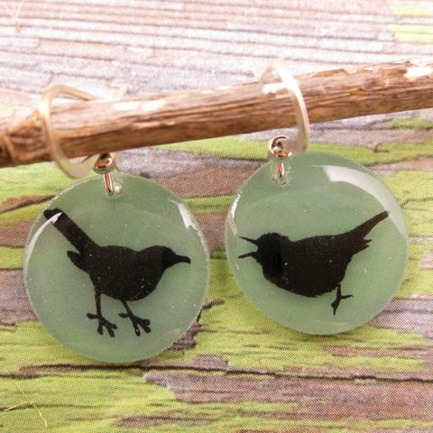 Beijo,Brasil,Small,Resin,Earrings,-,Bird,Silhouette,Beijo Brasil Bird Silhouette Small Resin Earrings, Beijo Brasil, Beijo Brasil Bird earrings, Bird earrings