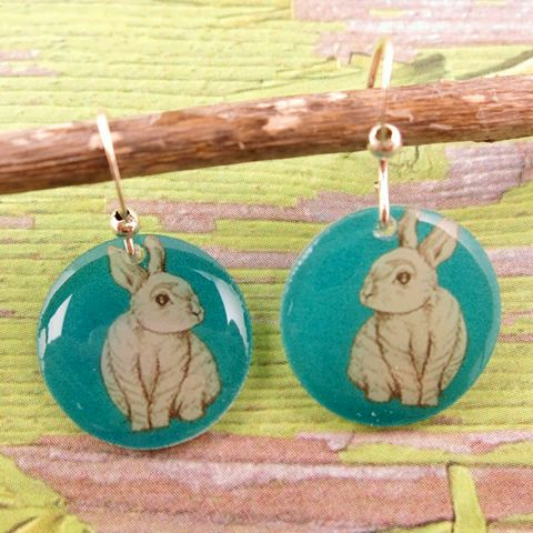 Beijo,Brasil,Small,Resin,Earrings,-,White,Rabbit,Beijo Brasil White Rabbit Small Resin Earrings, Beijo Brasil, Beijo Brasil Rabbit earrings, rabbit earrings
