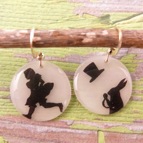 Beijo,Brasil,Small,Resin,Earrings,-,Alice,Silhouette,Beijo Brasil Alice Silhouette Small Resin Earrings, Beijo Brasil, Beijo Brasil Alice Silhouette earrings, Alice in wonderland earrings