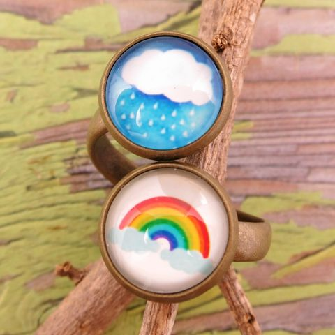 Beijo,Brasil,Glass,Dome,Double,Ring,-,Rainy,Days,Cloud Collector's Collection, Beijo Brasil Rainy Days Glass Dome Double Ring, Beijo Brasil, Beijo Brasil rainbow ring, Beijo Brasil raincloud ring, rainbow ring, raincloud ring
