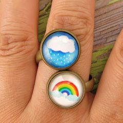 Beijo Brasil Glass Dome Double Ring - Rainy Days - product images 3 of 4