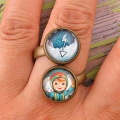 Beijo Brasil Glass Dome Double Ring - Thunder Girl - product images  of