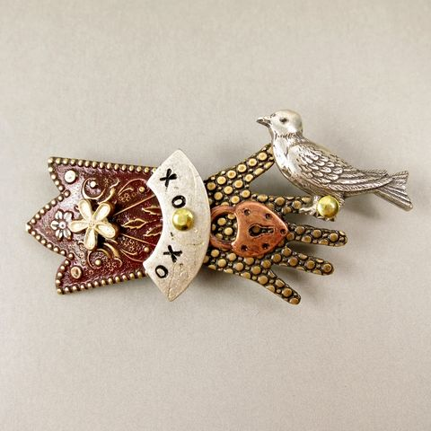 Mullanium,-,Bird,in,Hand,Pin,with,Brown,Tone,Bird in Hand Pin, Mullanium pin, Mullanium bird pin, Mullanium hand pin, bird pin, hand pin, mixed media pin, steampunk pin