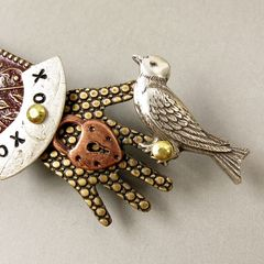 Mullanium - Bird in Hand Pin with Brown Tone - product images 2 of 5