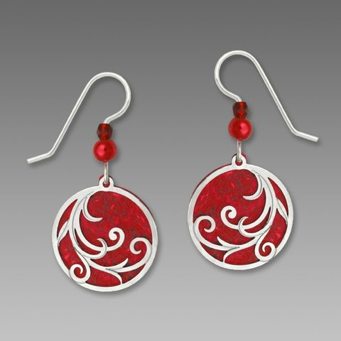 Adajio,Earrings,-,Bright,Red,Disc,with,Tendrils,Overlay,&,Beads,Adajio Earrings, Adajio earrings Sienna Sky, Etched Brass Earrings, Artisan Handmade
