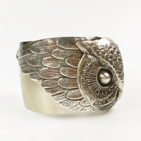 Jan,Michaels,Night,Owl,Cuff,in,Antique,Silver,Jan Michaels Night Owl Cuff, owl cuff, owl bracelet, Jan Michaels cuff, Jan Michaels bracelet