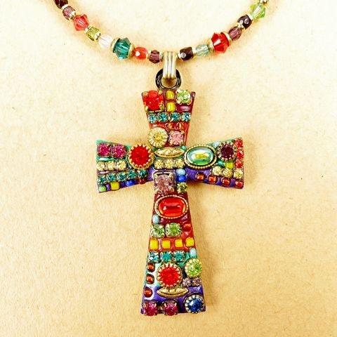 Michal,Golan,-,Large,Multi,Bright,Crystals,Cross,Pendant,Beaded,Necklace,Michal Golan Large Multi Bright Crystals Cross Pendant Beaded Necklace, Michal Golan Necklace