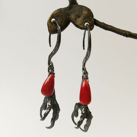 Dear,Swallow,-,Bird,Foot,Coral,Drop,Earrings,Bird Foot Coral Drop Earrings, Dear Swallow, Ria Charisse