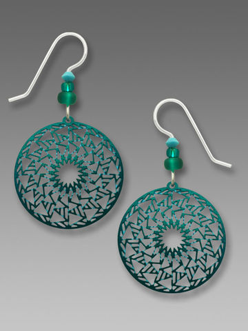 Adajio,Earrings,-,Iridescent,Teal,Geometric,Zigzag,Disc,Adajio Earrings, Adajio earrings Sienna Sky, Adajio Jewelry, Adajio Colorado