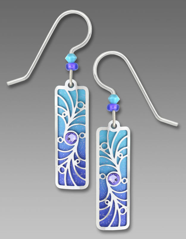 Adajio Earrings - Periwinkle Column with Shiny Silver Tone Overlay & Beads - product image