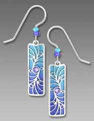 Adajio Earrings - Periwinkle Column with Shiny Silver Tone Overlay & Beads - product images 1 of 1