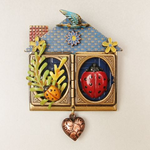 Ladybug,In,the,House,Pin,Ladybug In the House Pin, Mullanium pin, Mullanium ladybug pin, Mullanium house pin, ladybug pin, mixed media pin, steampunk pin, insect pin, house pin