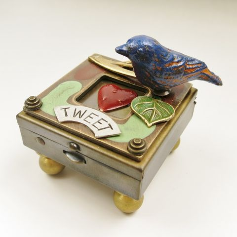 'Tweet',Blue,Bird,Wish,Box,Mullanium box, wish box, treasure box, mixed media box, steampunk box