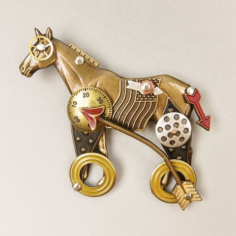 Mullanium,-,Horse,on,Wheels,Pin,Horse on Wheels Pin, Mullanium pin, Mullanium horse pin, horse pin, mixed media pin, steampunk pin